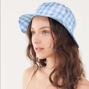 Urban Outfitters Blue and White Gingham Bucket Hat